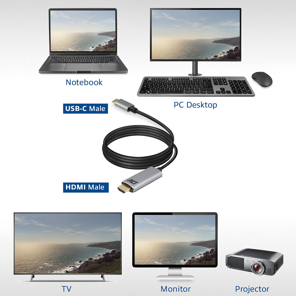 ACT USB-C to HDMI 4K Connection Cable